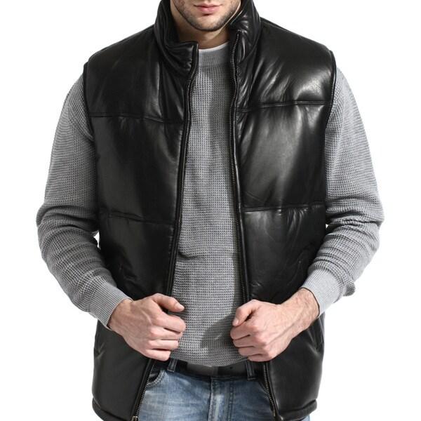 Men's Black Padded Lambskin Leather Vest