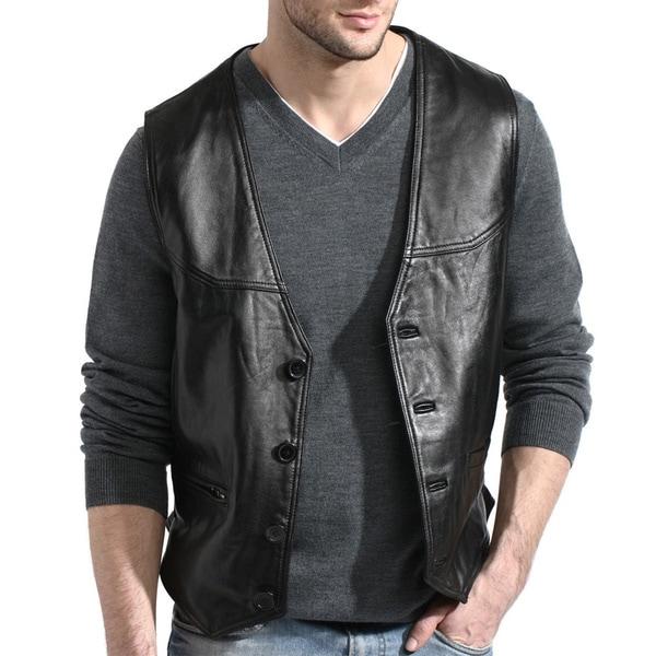 Men's Soft Black Button Front Leather Lambskin Vest