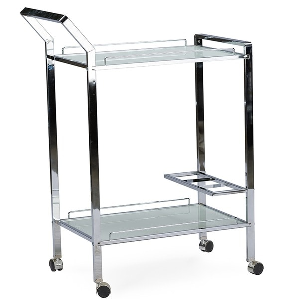 Baxton Studio Contino Chrome Finish Metal Tempered Glass Serving Trolley