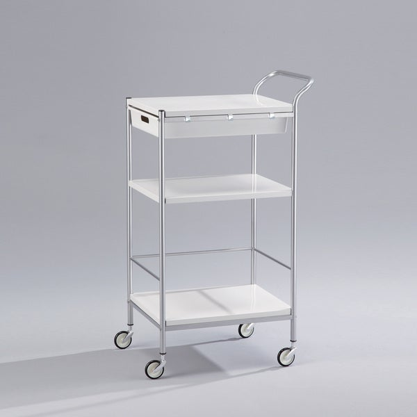 Pettie Rectangular Serving Trolley with Drawer - White