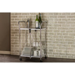 Baxton Studio Alekto Steel Foldable Serving Trolley Cart