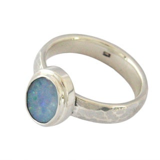 Sterling Silver Boulder Opal Doublet Ring (Indonesia)