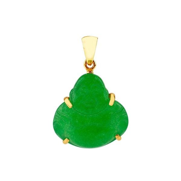 14k Yellow Gold Green China Jade Buddha Pendant
