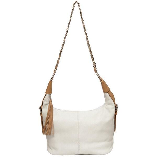 SHARO White Deleite Tasseled Leather Shoulder Bag