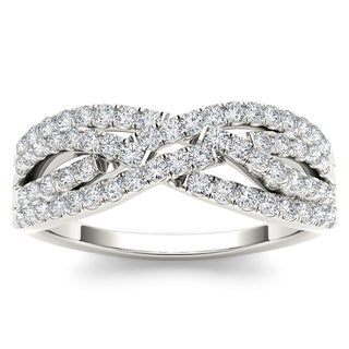 De Couer 10k White Gold 3/8ct TDW Diamond Wedding Band (H-I, I2)