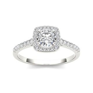 De Couer 14k White Gold 1ct TDW Diamond Halo Engagement Ring (H-I, I2)