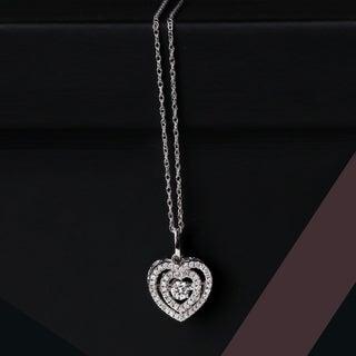 De Couer 10k White Gold 1/5ct TDW Diamond Heartbeat Necklace (H-I, I2)
