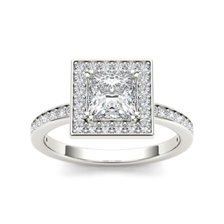 De Couer 14k White Gold 1 1/4ct TDW Diamond Halo Engagement Ring (H-I, I2)