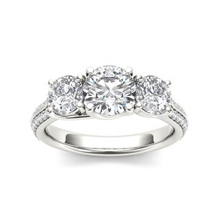 De Couer 14k White Gold 2 1/4ct TDW Diamond Three-Stone Engagement Ring (H-I, I2)