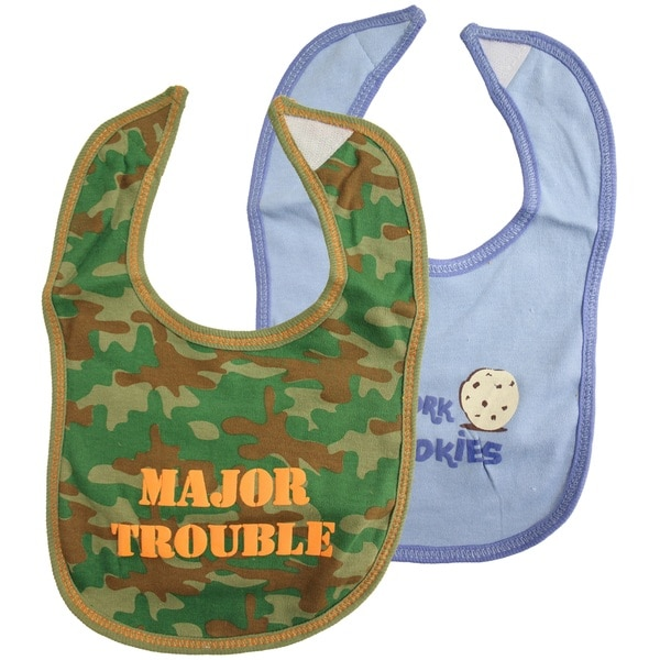 Camo Big Attitude Printed Baby Feeder Bib (Pack of 2)