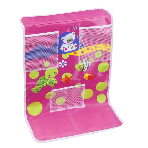Cushioned Baby Bath Time Pink Kneeling Pad with Toy Pockets