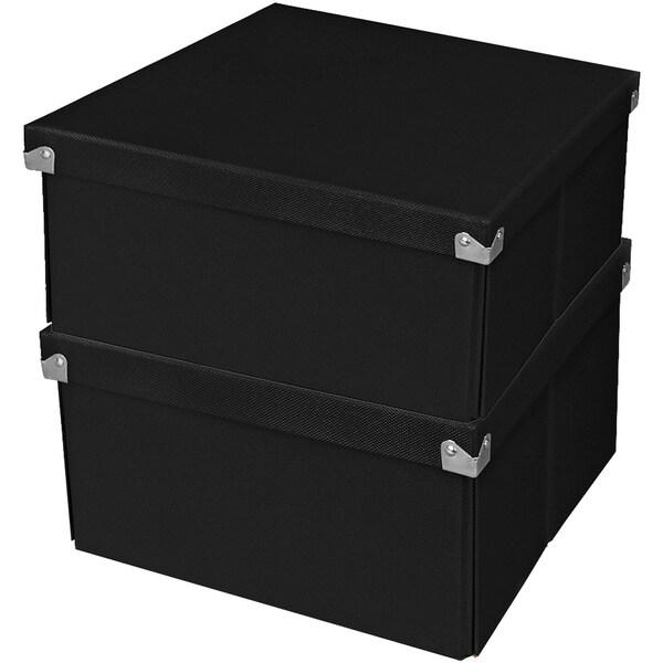 """Samsill Pop n' Store Medium Square Box - 2 Pack - Black - 10.63""""x6""""x1"""