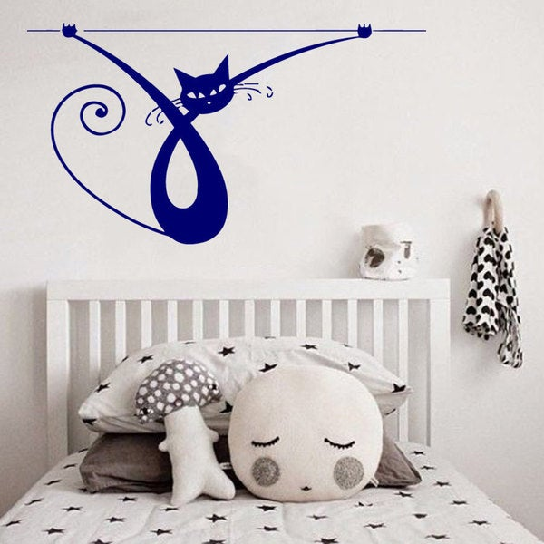 Blue Cat Kitten Vinyl Sticker Wall Art
