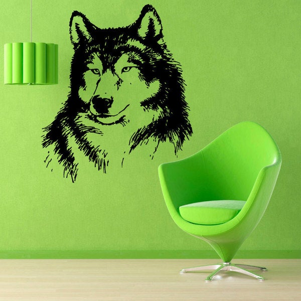 Black Wolf Head Vinyl Sticker Wall Art