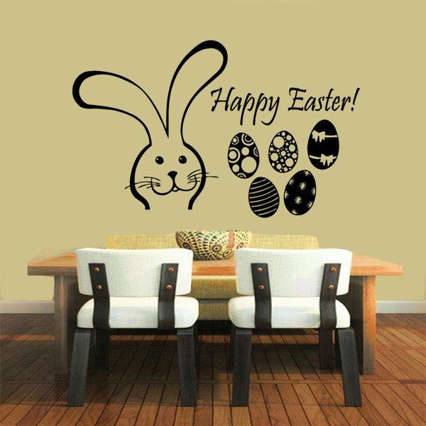 Black Happy Easter Bunny eggs Vinyl Sticker Wall Art