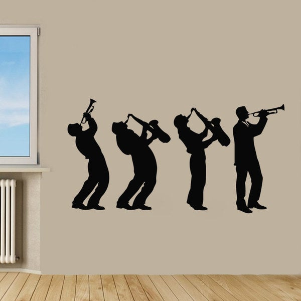 Black Jazz Band Vinyl Sticker Wall Art