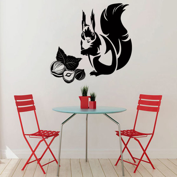 Black Squirrl and Nuts Vinyl Sticker Wall Art