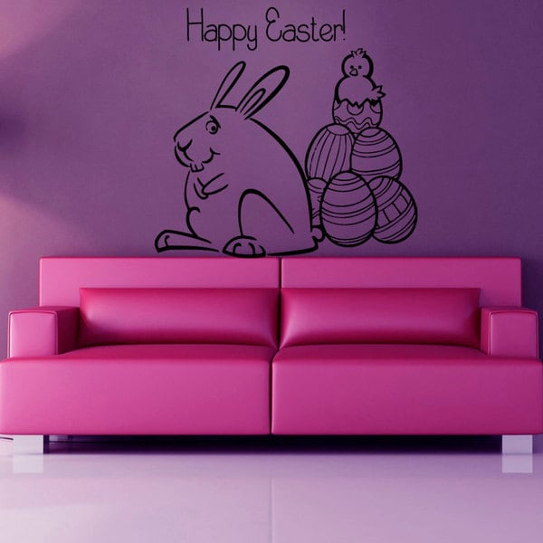 Black Eastern Bunny Vinyl Sticker Wall Art