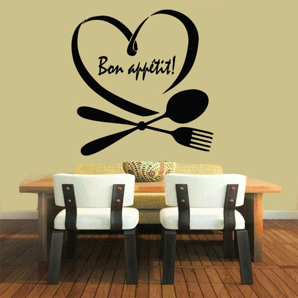 Black Bon Appetit Vinyl Sticker Wall Art