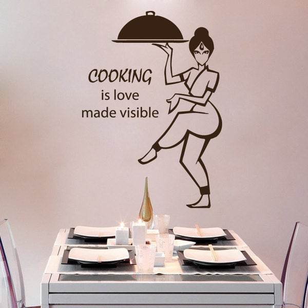 Brown Cooking Is Love Made Visible Cafe Kitchen Vinyl Sticker Wall Art