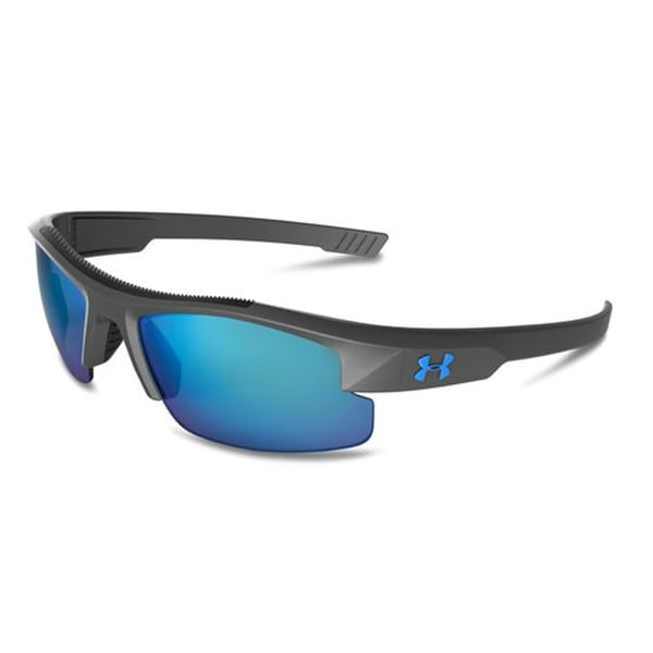 Under Armour Nitro L Youth Satin Carbon Storm Blue Mirror Polarized Sunglasses 15420382