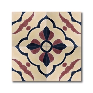 Pack of 12 Langouira Beige and Red Handmade Cement and Granite 8-inch Floor and Wall Tile (Morocco)