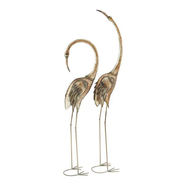 Graceful Metal Flamingos (Set of 2)