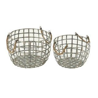Fantastic Metal Rope Handle Basket (Set of 2)