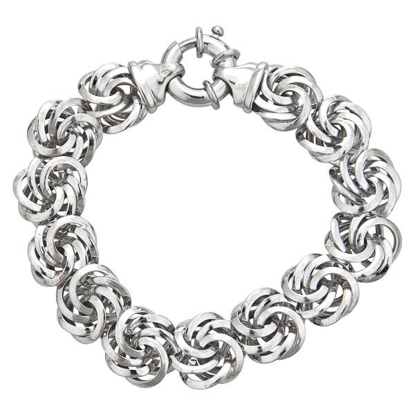 Sterling Silver Italian 14mm Rosetta Bracelet