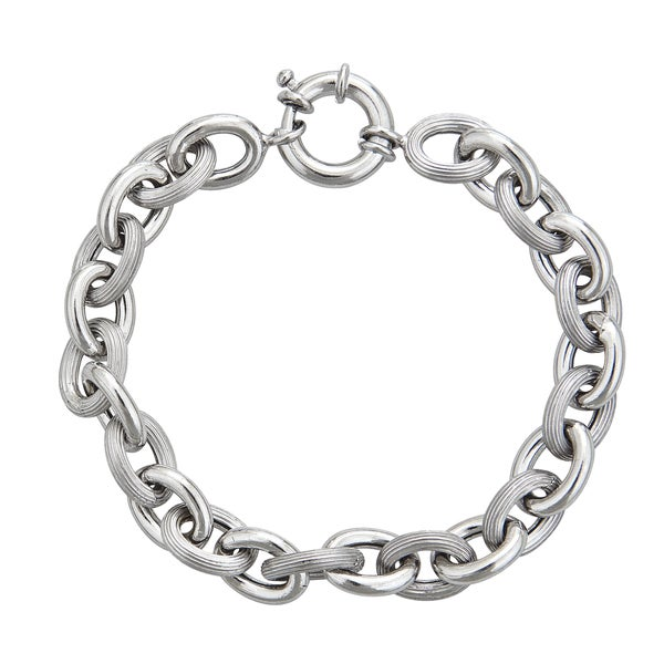 Sterling Silver Italian 8mm Hollow Links Bracelet