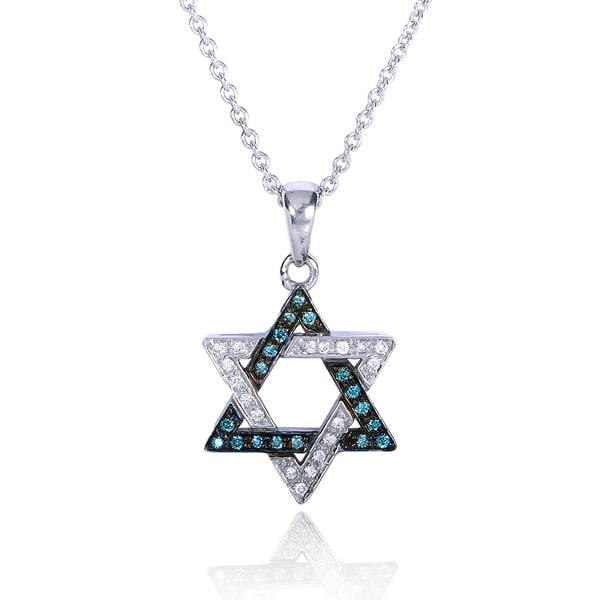 Annello Sterling Silver 1/4ct TDW Round Treated Blue Diamond Star of David Necklace (G-H, I1-I2)