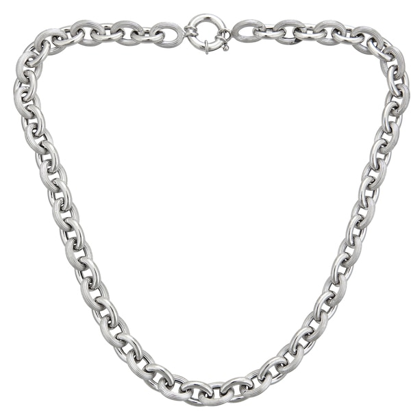 Sterling Silver Italian 6mm Hollow Links Necklace