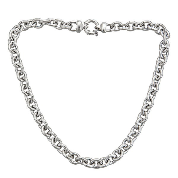 Sterling Silver Italian 9mm Hollow Links Necklace