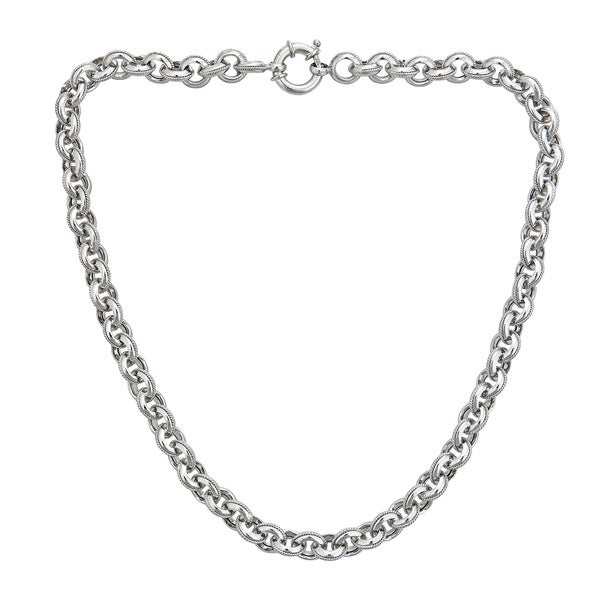 Sterling Silver 8mm Italian Links Necklace