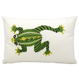 "Mina Victory by Nourison Indoor/Outdoor White Frog 12"" x 18"" Throw Pillow"
