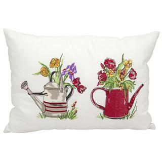 "Mina Victory by Nourison Indoor/Outdoor White Watering Cans 14"" x 20"" Throw Pillow"