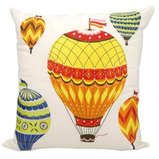 Mina Victory by Nourison Indoor/Outdoor Multicolor Hot Air Balloons 20-inch Throw Pillow