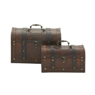 Vintage Themed Leather Wood Box (Set of 2)