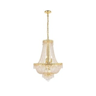 Elegant Lighting Gold 20-inch Royal-cut Crystal Clear Hanging 12-light Chandelier