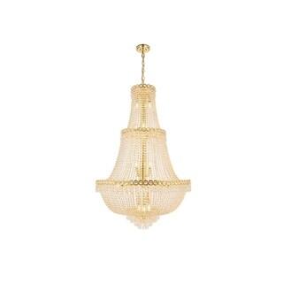 Elegant Lighting Gold 30-inch Royal-cut Crystal Clear Large Hanging Chandelier