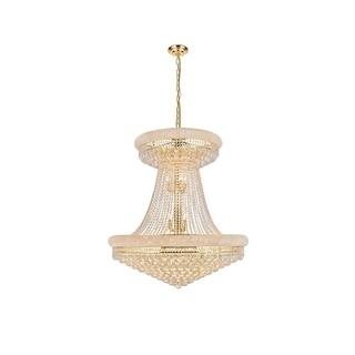 Elegant Lighting Gold Royal-cut 36-inch Crystal Clear Large Hanging Chandelier