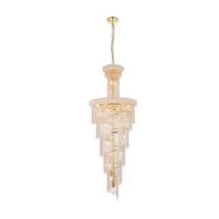 Elegant Lighting Gold 22-inch Royal-cut Crystal Clear Large Hanging Chandelier