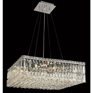 Somette Chrome Royal-cut Crystal Clear 24-inch Hanging 12-light Chandelier
