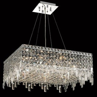 Somette Chrome 24-inch Royal-cut Crystal Clear Hanging 12-light Chandelier