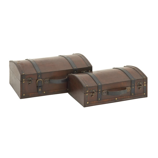 Classic Wood Leather Box (Set of 2)