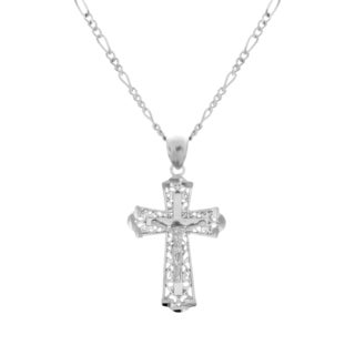 Sterling Essentials Rhodium Plated Silver Cross Figaro Necklace (2mm)