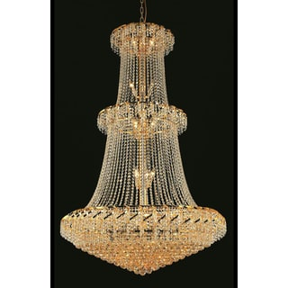 Elegant Lighting Gold 42-inch Royal-cut Crystal Clear Large Hanging Chandelier