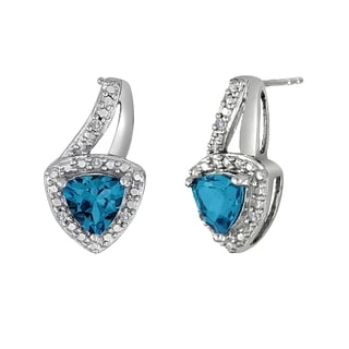 Sterling Silver Blue Topaz and Created White Sapphire Earrings