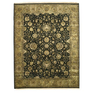 EORC 4212 Black Hand-knotted New Zealand Wool Tabriz Rug (7'10 x 10')
