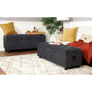 Dark Designer Wood Fabric Trunk (Set of 2)